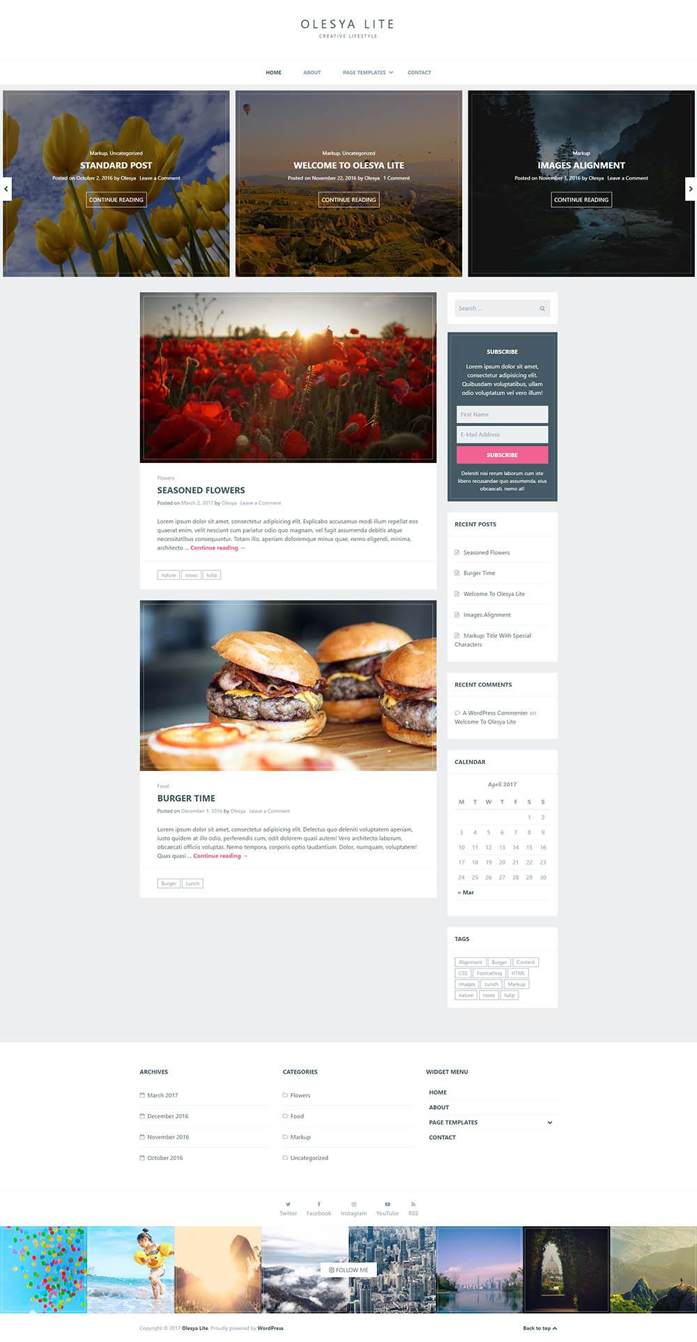 5 najlepszych darmowych BLOGOWYCH motywów WordPress Olesya-Lite-wordpress-blog-theme