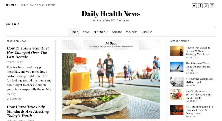 darmowych motywów BLOGOWYCH do WordPressa mission news