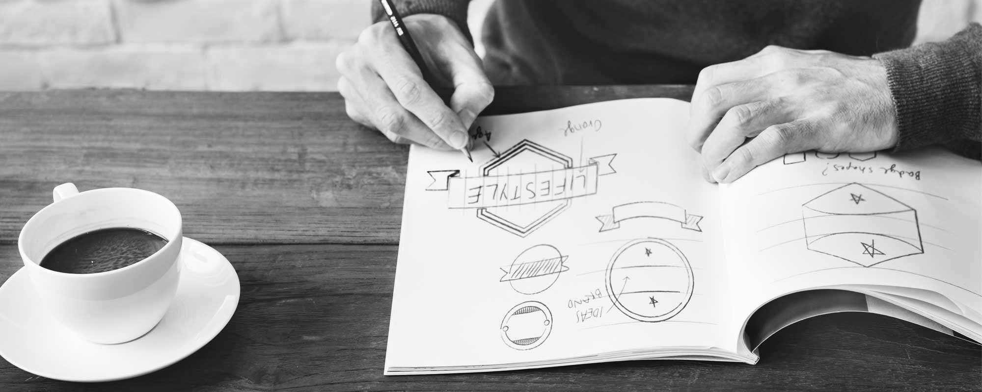 grafik szkicujący propozycje logo
