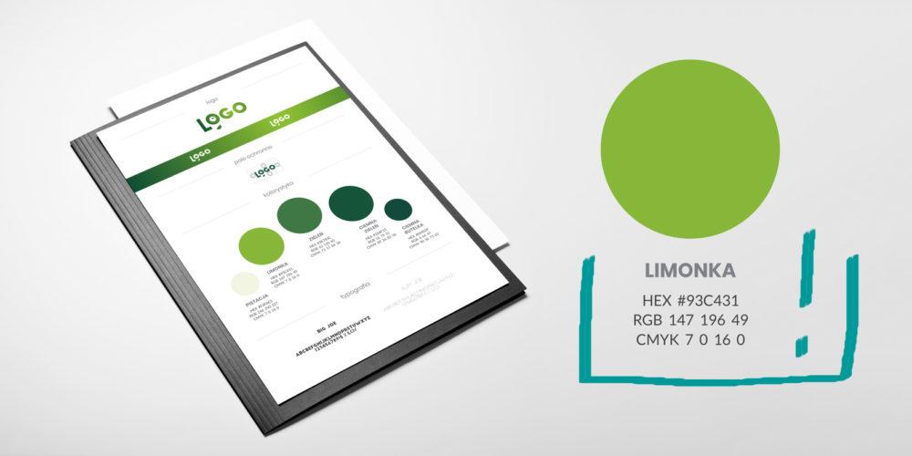 oznaczenia kolorów i internecie i druku, przykład identyfikacji wizualnej